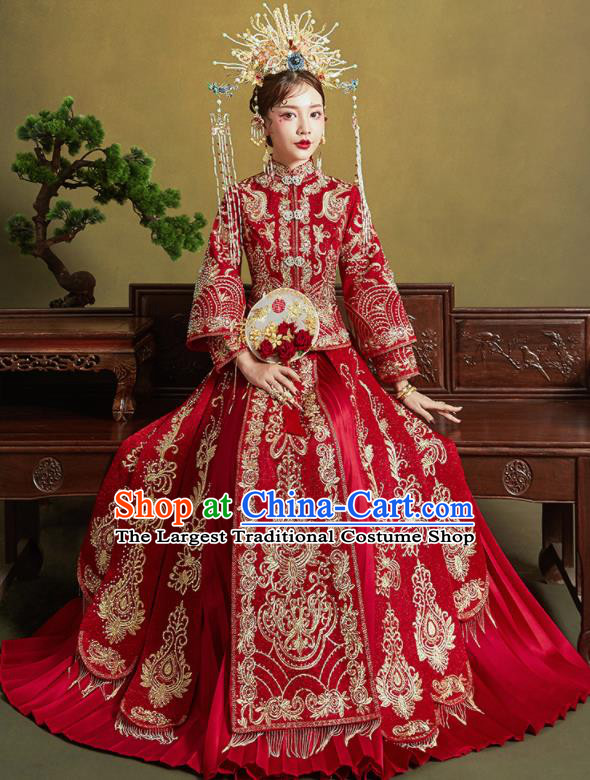 Chinese Traditional Embroidered Wedding Drilling Xiu He Suit Red Blouse and Dress Ancient Bride Costumes for Women
