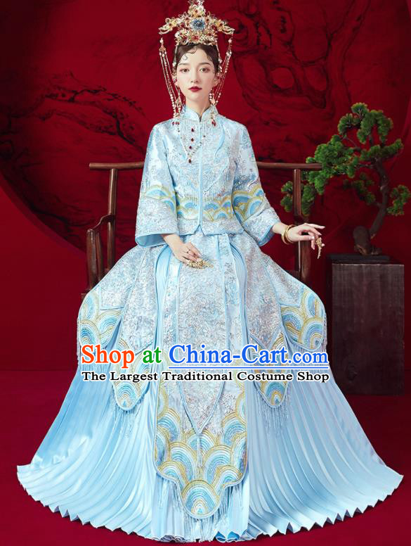 Chinese Traditional Embroidered Wedding Blue Xiu He Suit Blouse and Dress Ancient Bride Costumes for Women