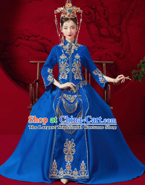 Chinese Traditional Embroidered Wedding Royalblue Xiu He Suit Blouse and Dress Ancient Bride Costumes for Women