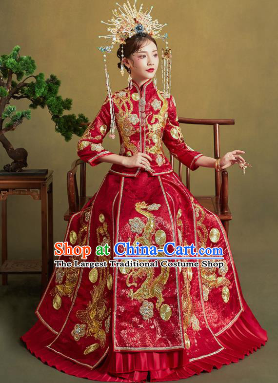 Chinese Traditional Wedding Xiu He Suit Embroidered Dragon Red Blouse and Dress Ancient Bride Costumes for Women