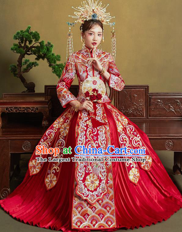 Chinese Traditional Wedding Xiu He Suit Embroidered Peony Red Blouse and Dress Ancient Bride Costumes for Women