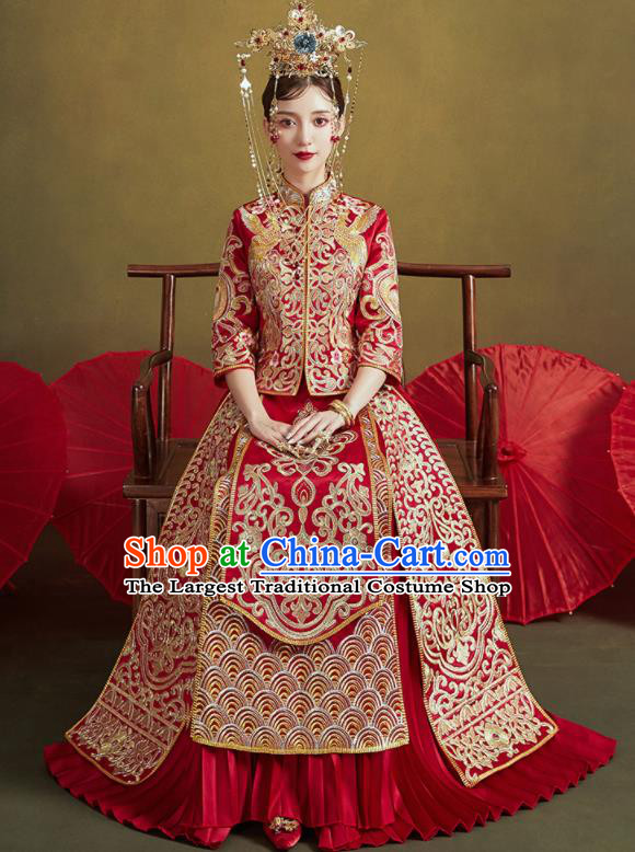 Chinese Traditional Embroidered Wedding Red Xiu He Suit Blouse and Dress Ancient Bride Costumes for Women