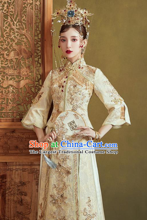 Chinese Traditional Embroidered Wedding Light Golden Xiu He Suit Blouse and Dress Ancient Bride Costumes for Women