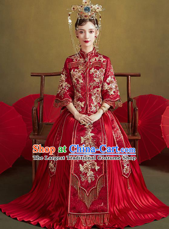 Chinese Traditional Embroidered Flowers Wedding Dark Red Xiu He Suit Blouse and Dress Ancient Bride Costumes for Women