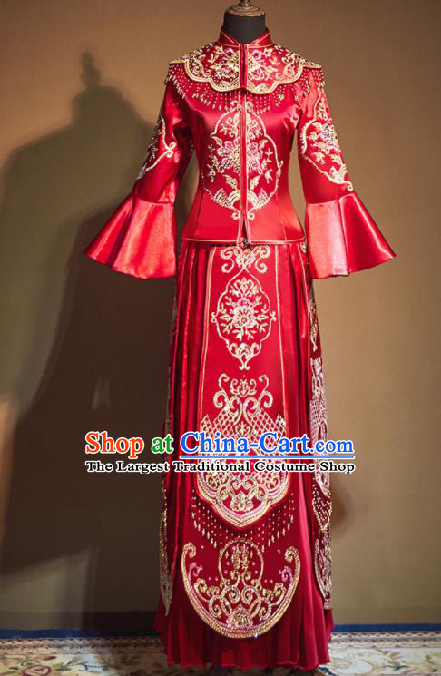 Chinese Traditional Embroidered Peony Wedding Xiu He Suit Red Blouse and Tassel Dress Ancient Bride Costumes for Women