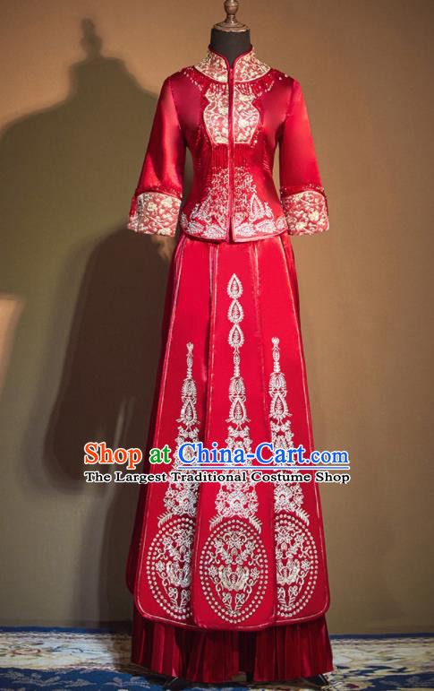 Chinese Traditional Embroidered Wedding Xiu He Suit Red Blouse and Dress Ancient Bride Costumes for Women