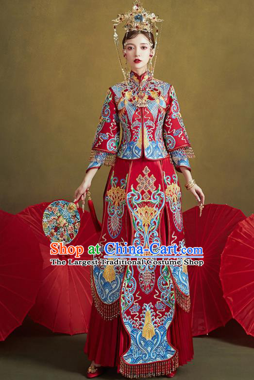 Chinese Traditional Blue Embroidered Wedding Xiu He Suit Blouse and Dress Ancient Bride Costumes for Women