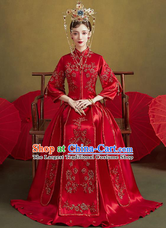 Chinese Traditional Embroidered Plum Wedding Xiu He Suit Blouse and Dress Ancient Bride Costumes for Women