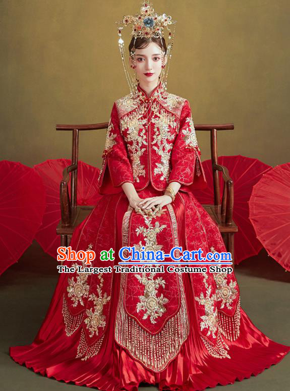 Chinese Traditional Embroidered Golden Flowers Wedding Xiu He Suit Blouse and Dress Ancient Bride Costumes for Women