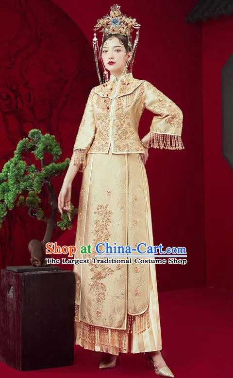 Chinese Traditional Embroidered Golden Wedding Xiu He Suit Blouse and Dress Ancient Bride Costumes for Women