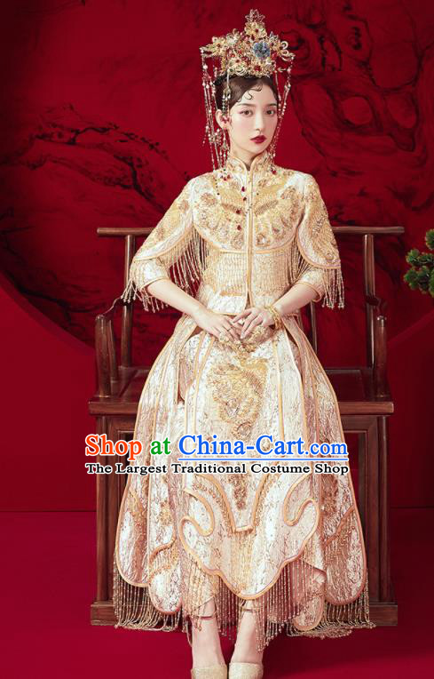 Chinese Traditional Embroidered Golden Tassel Wedding Xiu He Suit Blouse and Dress Ancient Bride Costumes for Women