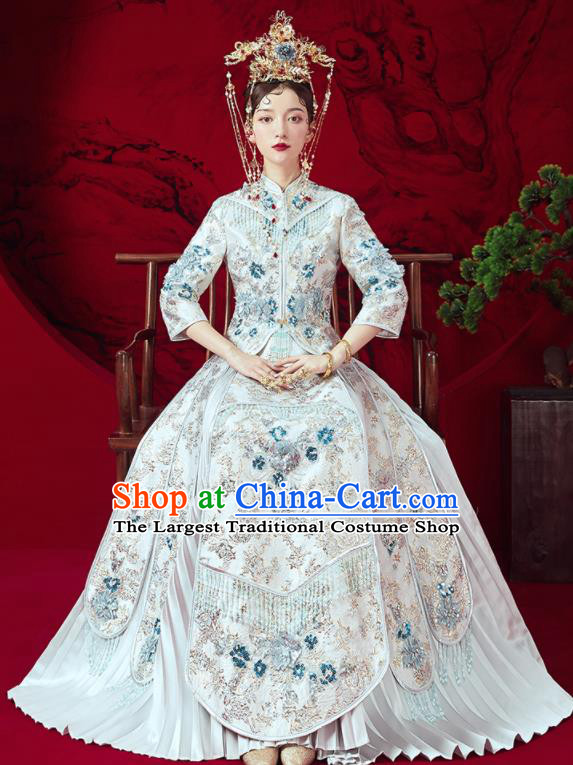 Chinese Traditional Embroidered Wedding Xiu He Suit White Blouse and Dress Ancient Bride Costumes for Women