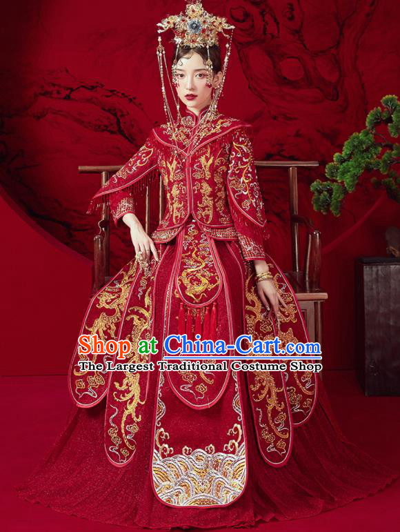 Chinese Traditional Embroidered Dragon Wedding Xiu He Suit Red Blouse and Dress Ancient Bride Costumes for Women