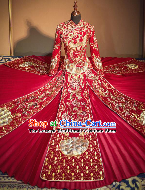 Chinese Traditional Embroidered Phoenix Peony Wedding Xiu He Suit Red Blouse and Dress Ancient Bride Costumes for Women
