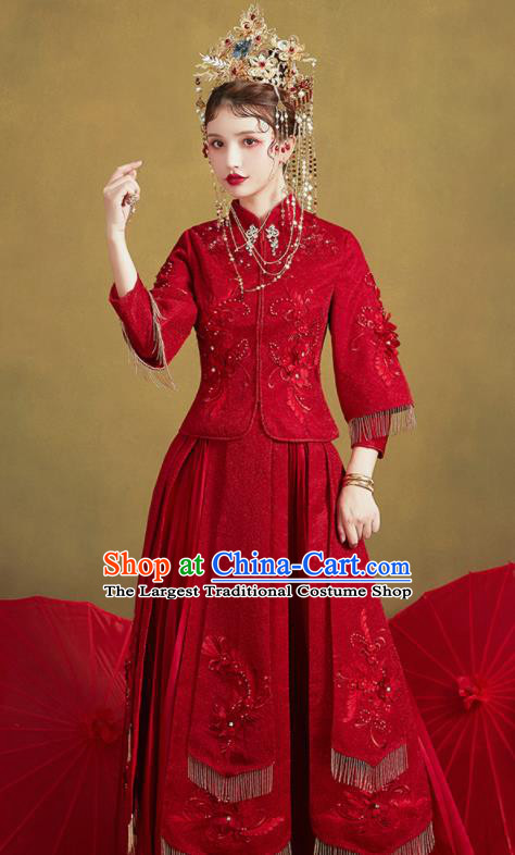 Chinese Traditional Embroidered Wedding Purplish Red Xiu He Suit Blouse and Dress Ancient Bride Costumes for Women