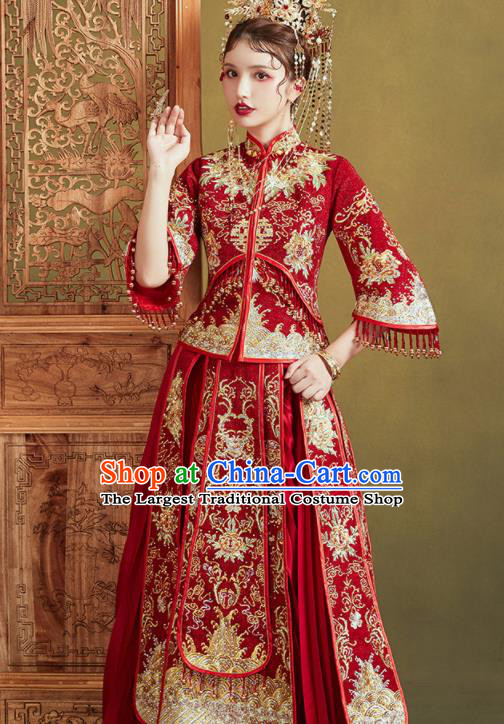 Chinese Traditional Embroidered Golden Peony Wedding Xiu He Suit Blouse and Dress Ancient Bride Costumes for Women
