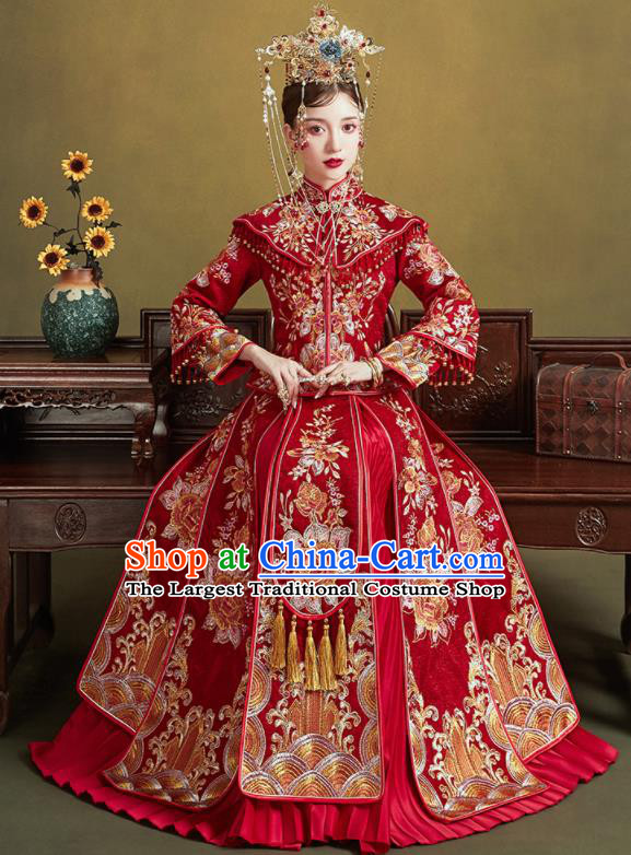 Chinese Traditional Embroidered Red Peony Wedding Xiu He Suit Blouse and Dress Ancient Bride Costumes for Women