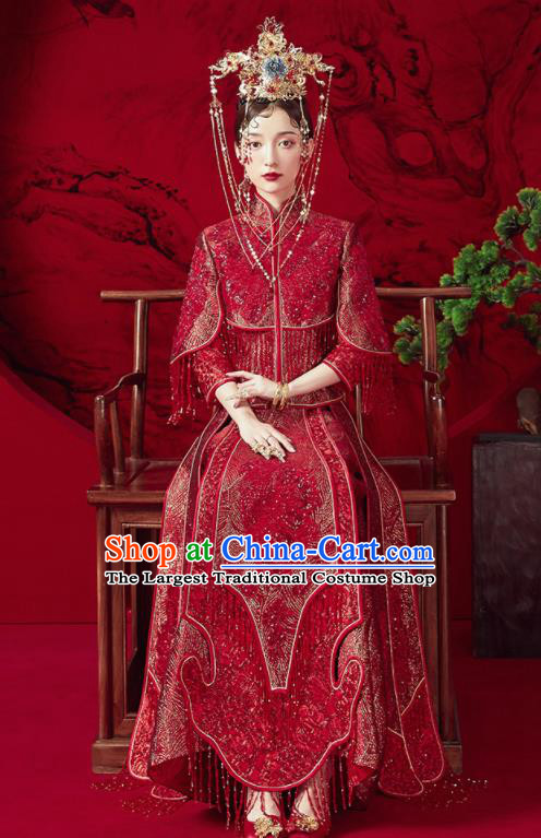 Chinese Traditional Red Tassel Wedding Xiu He Suit Blouse and Dress Ancient Bride Costumes for Women
