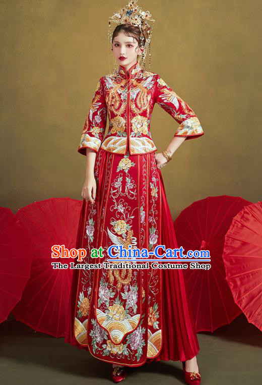 Chinese Traditional Wedding Embroidered Phoenix Peony Red Xiu He Suit Blouse and Dress Ancient Bride Costumes for Women