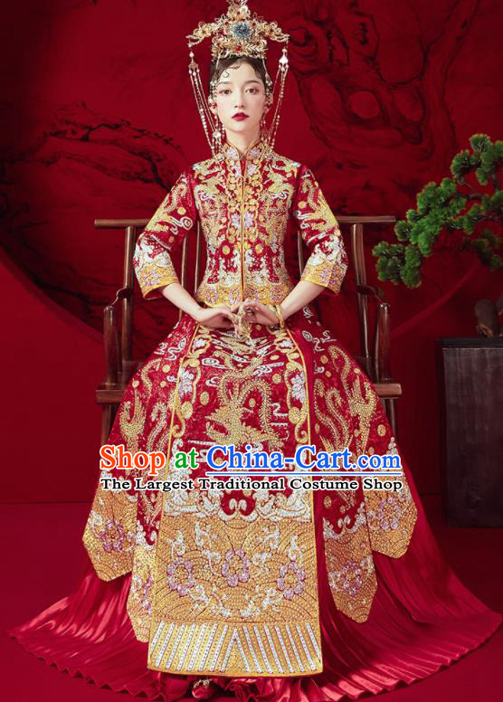 Chinese Traditional Wedding Embroidered Phoenix Plum Red Xiu He Suit Blouse and Dress Ancient Bride Costumes for Women