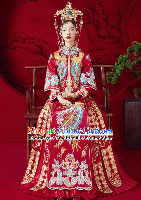 Chinese Traditional Wedding Embroidered Phoenix Xiu He Suit Blouse and Dress Ancient Bride Costumes for Women