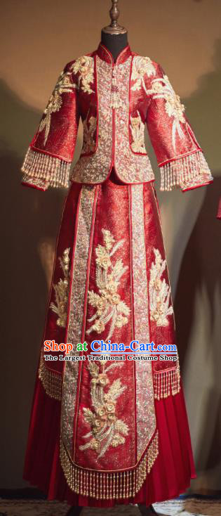 Chinese Traditional Embroidered Phoenix Wedding Xiu He Suit Red Blouse and Dress Ancient Bride Costumes for Women