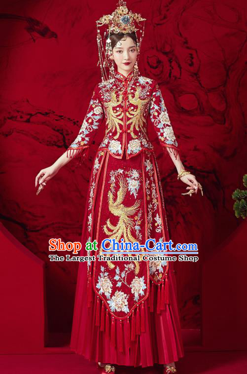 Chinese Traditional Wedding Embroidered Phoenix Peony Xiu He Suit Blouse and Dress Ancient Bride Costumes for Women