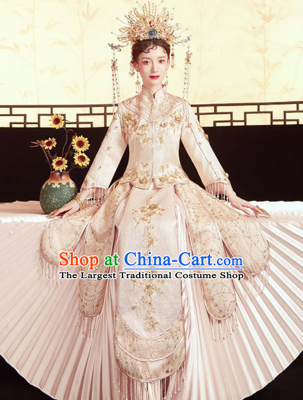 Chinese Traditional Wedding Embroidered Champagne Xiu He Suit Blouse and Dress Ancient Bride Costumes for Women