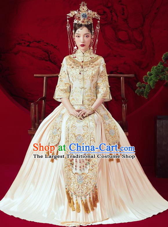 Chinese Traditional Wedding Embroidered Beige Xiu He Suit Blouse and Dress Ancient Bride Costumes for Women