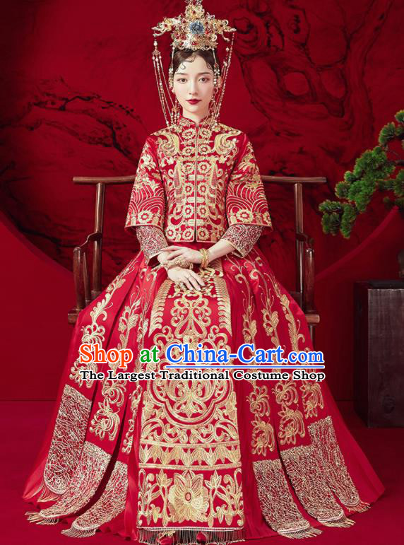Chinese Traditional Wedding Xiu He Suit Embroidered Blouse and Dress Ancient Bride Costumes for Women