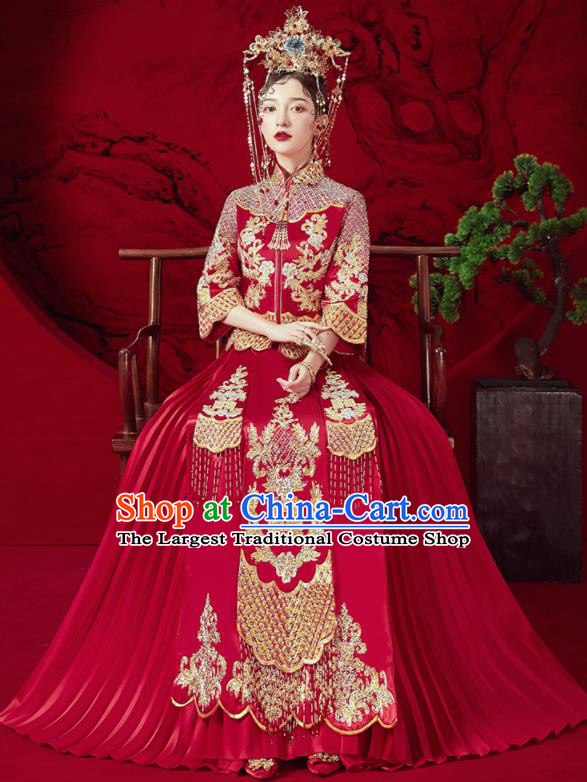 Chinese Traditional Wedding Red Xiu He Suit Embroidered Blouse and Dress Ancient Bride Costumes for Women