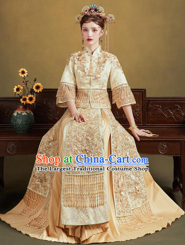 Chinese Traditional Wedding Light Golden Xiu He Suit Embroidered Blouse and Dress Ancient Bride Costumes for Women