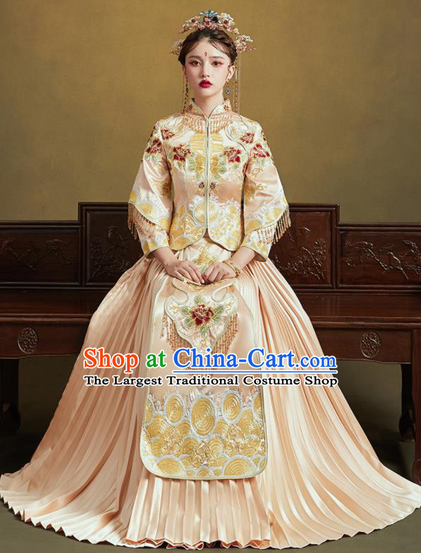 Chinese Traditional Wedding Light Golden Xiu He Suit Embroidered Peony Blouse and Dress Ancient Bride Costumes for Women
