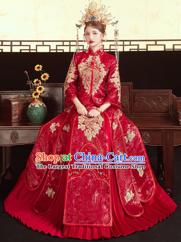 Chinese Traditional Wedding Bottom Drawer Xiu He Suit Embroidered Red Blouse and Dress Ancient Bride Costumes for Women