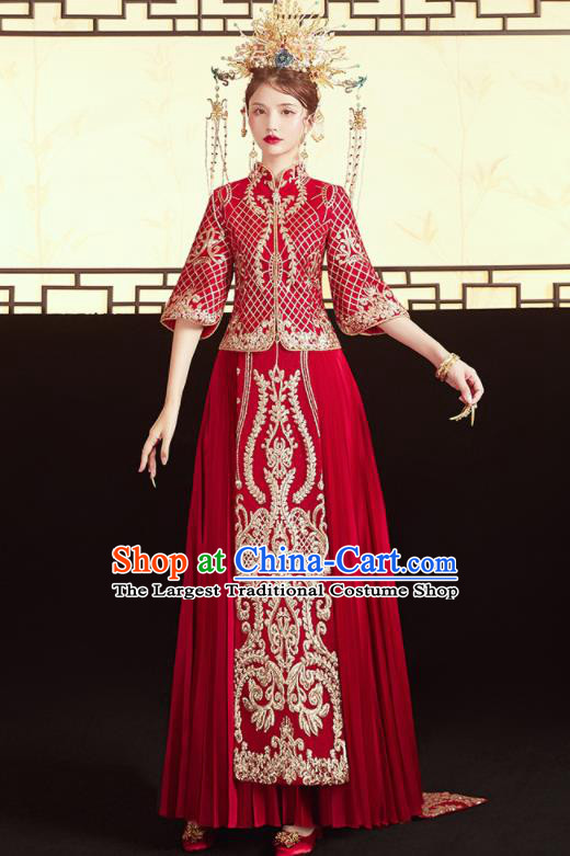 Chinese Traditional Wedding Bottom Drawer Trailing Xiu He Suit Embroidered Red Blouse and Dress Ancient Bride Costumes for Women