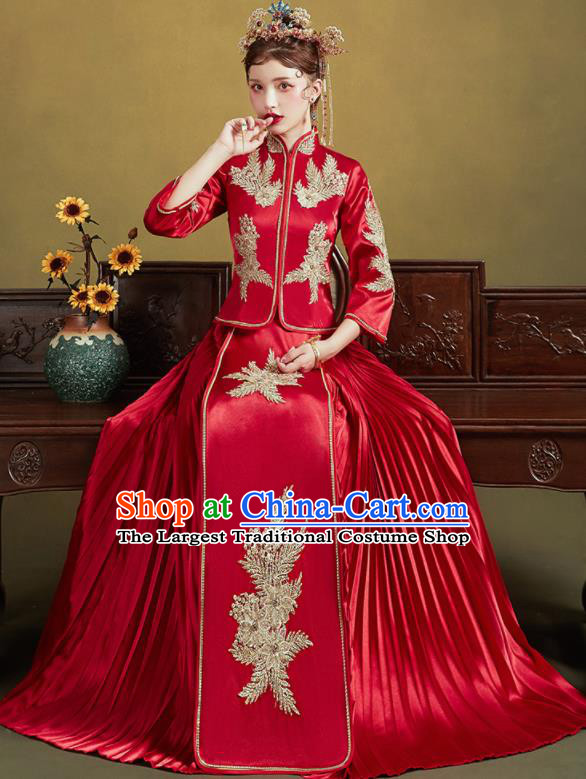 Chinese Traditional Wedding Bottom Drawer Slim Xiu He Suit Embroidered Red Blouse and Dress Ancient Bride Costumes for Women