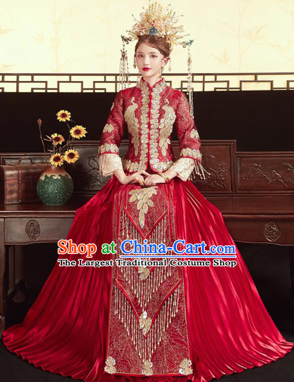 Chinese Traditional Wedding Red Bottom Drawer Xiu He Suit Embroidered Peacock Blouse and Dress Ancient Bride Costumes for Women