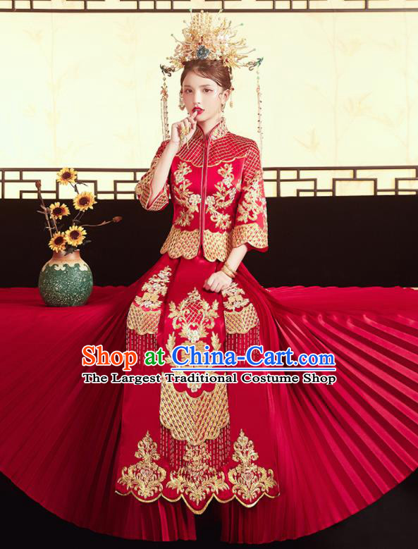 Chinese Traditional Wedding Red Bottom Drawer Xiu He Suit Embroidered Blouse and Dress Ancient Bride Costumes for Women