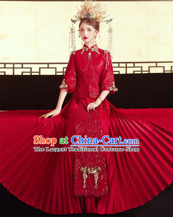 Chinese Traditional Embroidered Blouse and Trailing Dress Wedding Red Bottom Drawer Xiu He Suit Ancient Bride Costumes for Women