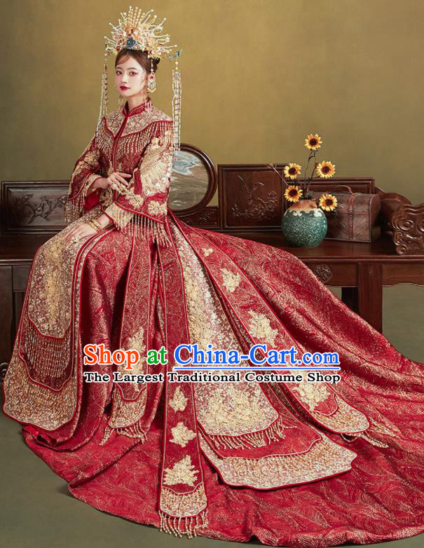 Chinese Traditional Embroidered Red Blouse and Dress Wedding Bottom Drawer Xiu He Suit Ancient Bride Costumes for Women