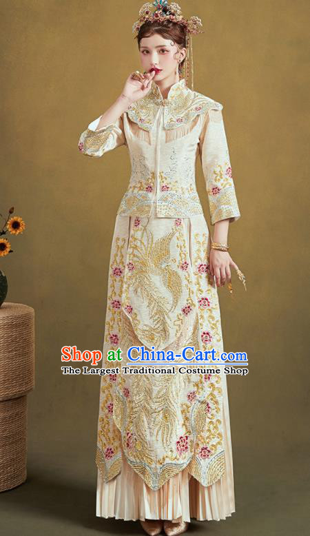 Chinese Traditional Embroidered Phoenix Beige Blouse and Dress Wedding Bottom Drawer Xiu He Suit Ancient Bride Costumes for Women