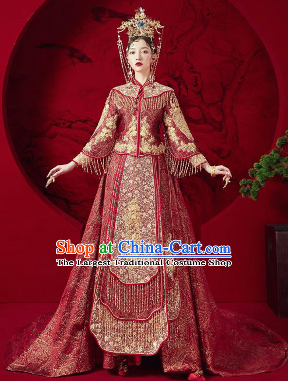 Chinese Traditional Wedding Red Trailing Xiu He Suit Embroidered Blouse and Dress Ancient Bride Costumes for Women