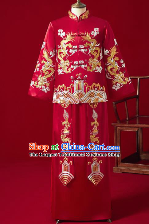Chinese Ancient Bridegroom Embroidered Dragon Red Mandarin Jacket and Long Gown Traditional Wedding Tang Suit Costumes for Men