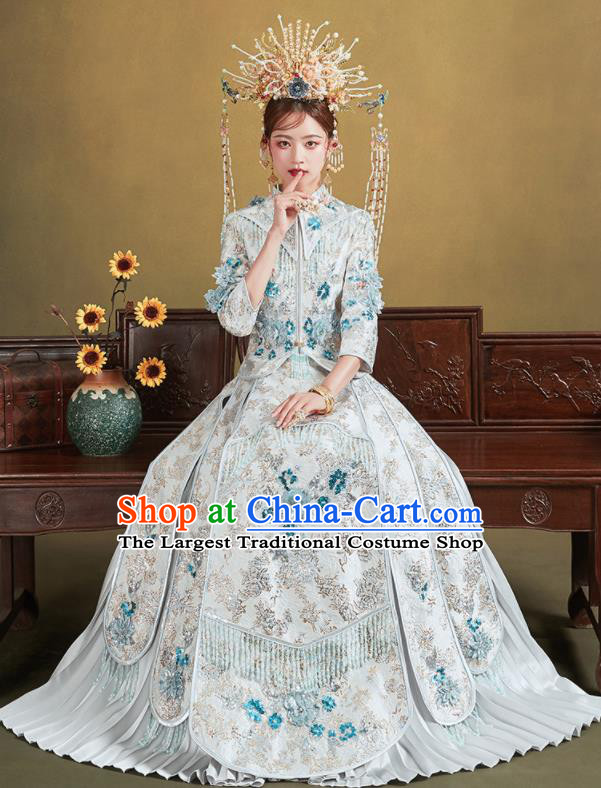 Chinese Traditional Wedding White Xiu He Suit Embroidered Blouse and Dress Ancient Bride Costumes for Women