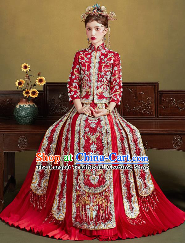 Chinese Traditional Embroidered Drilling Red Blouse and Dress Wedding Bottom Drawer Xiu He Suit Ancient Bride Costumes for Women