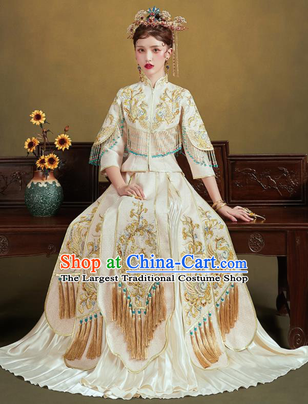 Chinese Traditional Embroidered Phoenix White Blouse and Dress Wedding Bottom Drawer Xiu He Suit Ancient Bride Costumes for Women