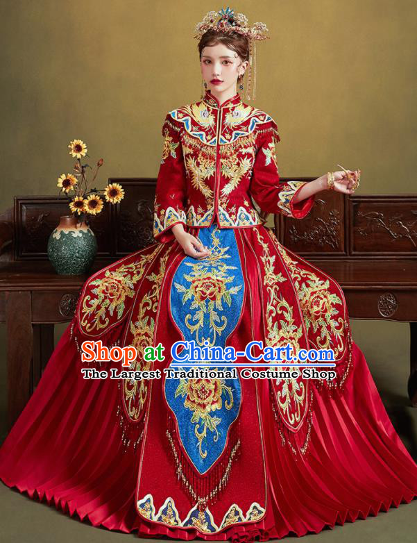 Chinese Traditional Embroidered Peony Blouse and Dress Wedding Bottom Drawer Xiu He Suit Ancient Bride Costumes for Women