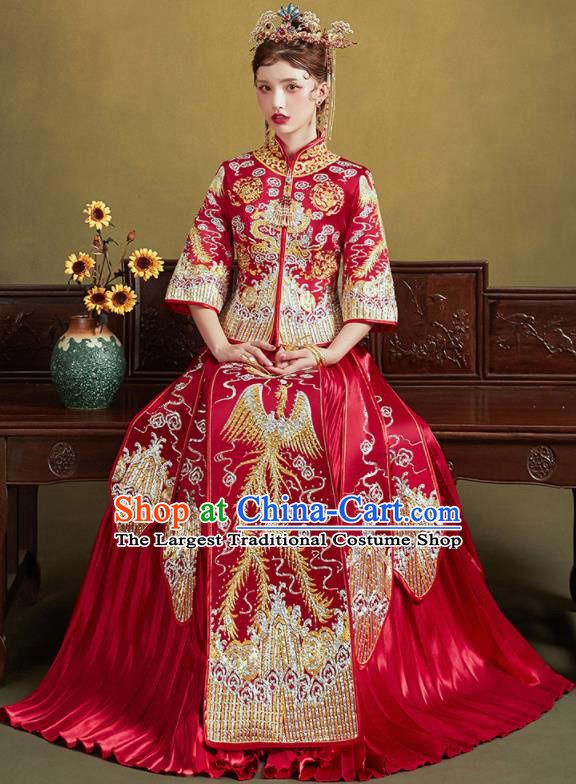 Chinese Traditional Embroidered Phoenix Red Blouse and Dress Wedding Bottom Drawer Xiu He Suit Ancient Bride Costumes for Women