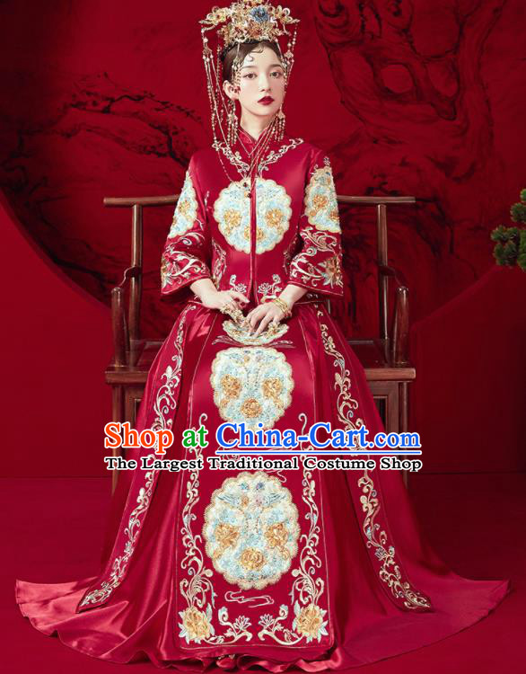 Chinese Traditional Wedding Embroidered Blouse and Dress Red Bottom Drawer Xiu He Suit Ancient Bride Costumes for Women