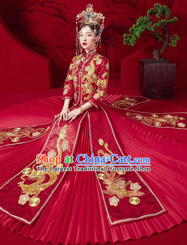 Chinese Traditional Wedding Embroidered Dragon Phoenix Blouse and Dress Red Bottom Drawer Xiu He Suit Ancient Bride Costumes for Women